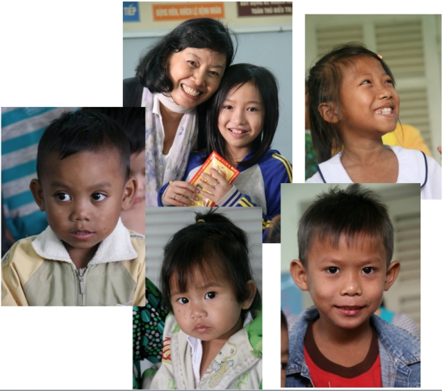 Hoang with 5 kids